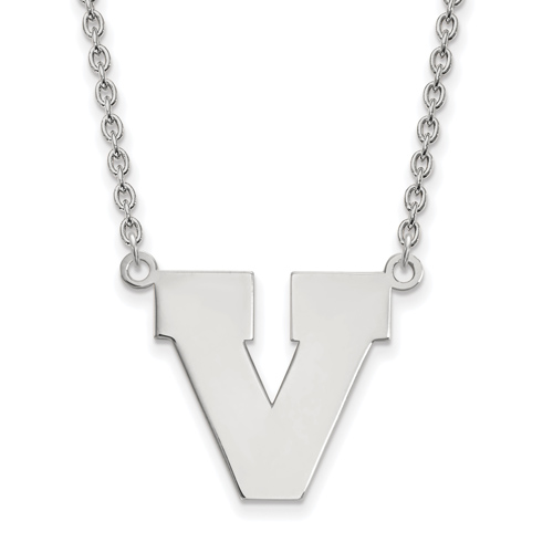 Sterling Silver University of Virginia Block V Pendant with 18in Chain