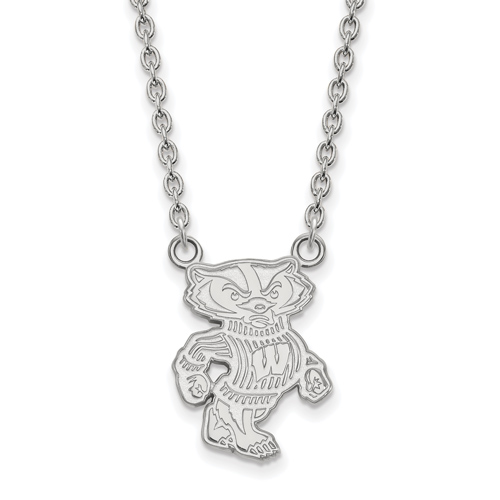 Sterling Silver University of Wisconsin Badger Pendant with 18in Chain