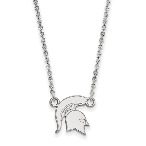 Sterling Silver 1/2in Michigan State University Spartan Helmet Pendant with 18in Chain