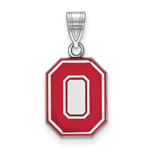 Sterling Silver 5/8in Ohio State University Block O Red Enamel Pendant