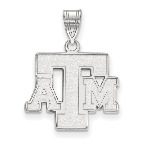 Sterling Silver 5/8in Texas A&M University ATM Pendant
