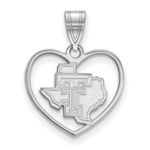 Sterling Silver 5/8in Texas Tech University State Map Pendant in Heart