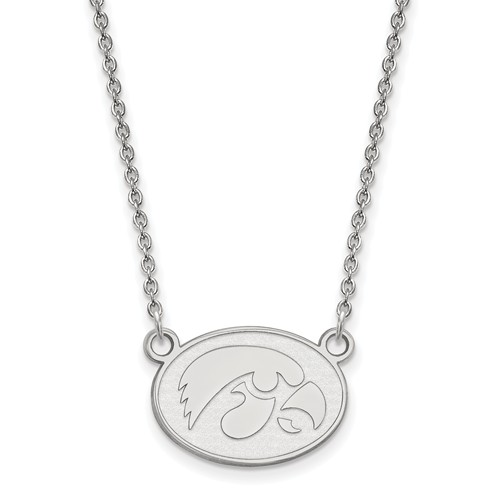 University of Iowa Small Oval Necklace 14k White Gold