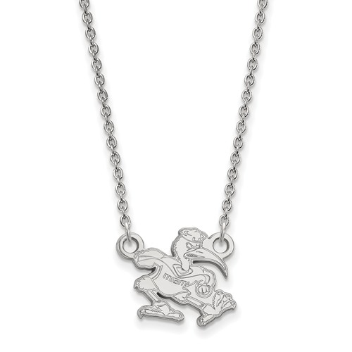 14kt White Gold 1/2in University of Miami Ibis Necklace
