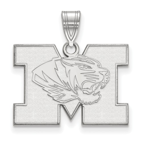 Sterling Silver 5/8in University of Missouri M Tiger Pendant
