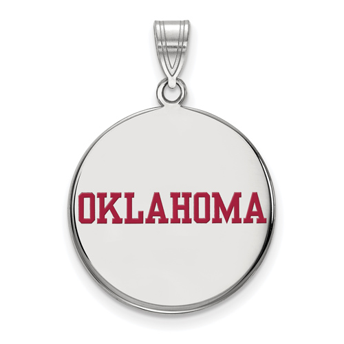 Sterling Silver 3/4in University of Oklahoma Round Enamel Pendant