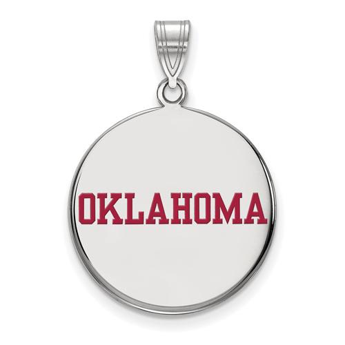 Sterling Silver 3/4in University of Oklahoma Round Enamel Pendant