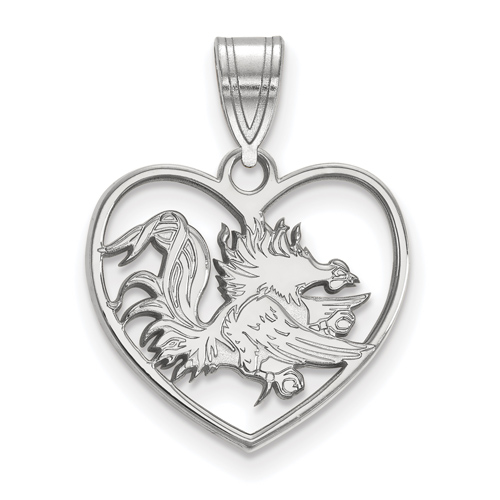 Sterling Silver 5/8in University of South Carolina Gamecock Heart Pendant