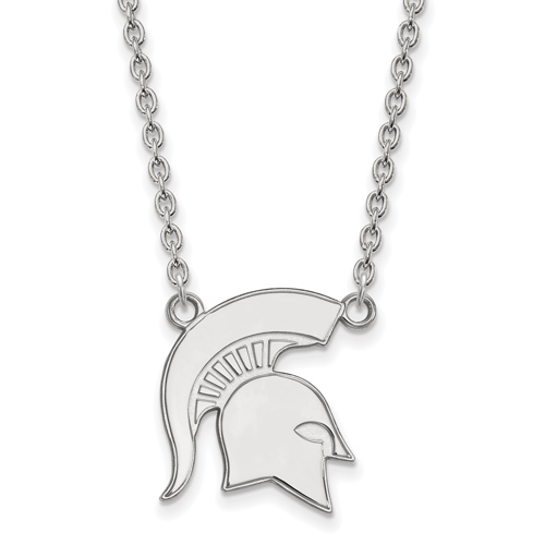 Sterling Silver Michigan State University Spartan Helmet Pendant with 18in Chain