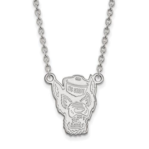 Sterling Silver North Carolina State University Mr. Wuf Pendant with 18in Chain