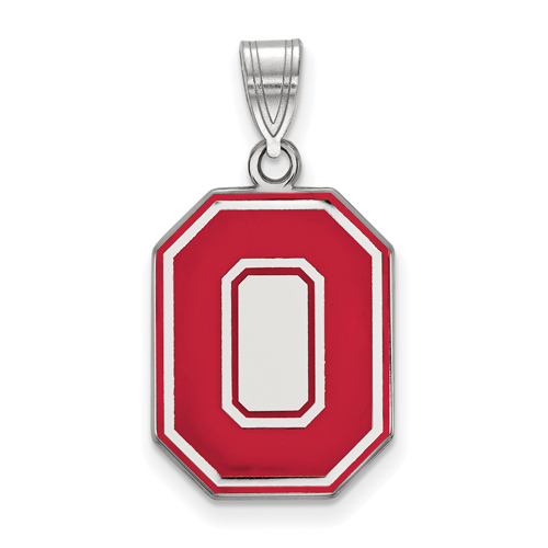 Sterling Silver 3/4in Ohio State University Block O Red Enamel Pendant