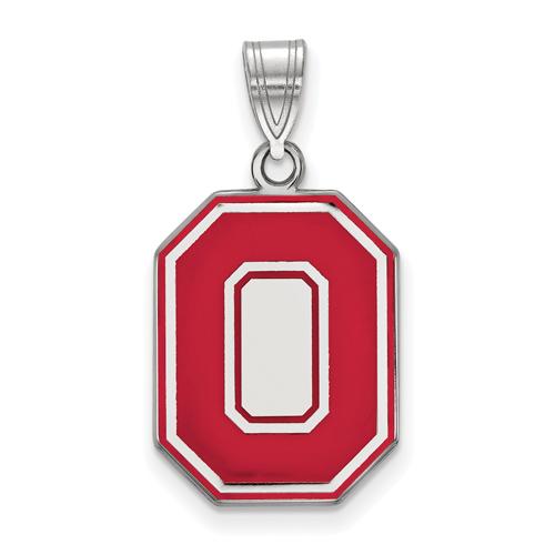 Sterling Silver 3/4in Ohio State University Block O Red Enamel Pendant