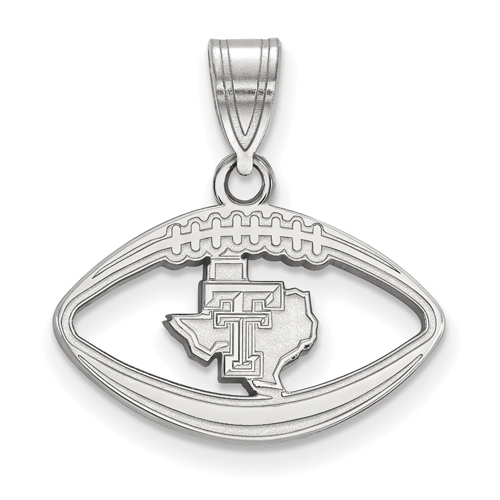 Sterling Silver 3/4in Texas Tech University State Map Football Pendant