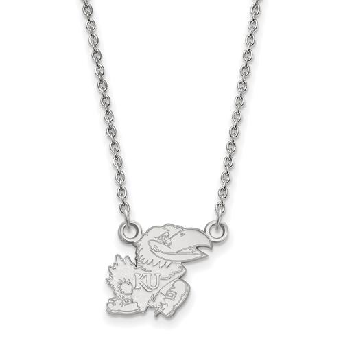 University of Kansas Jayhawk Pendant Necklace Small Sterling Silver