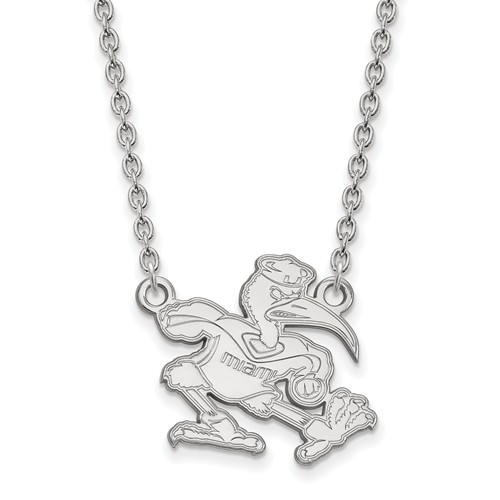 Sterling Silver University of Miami Pendant with 18in Chain
