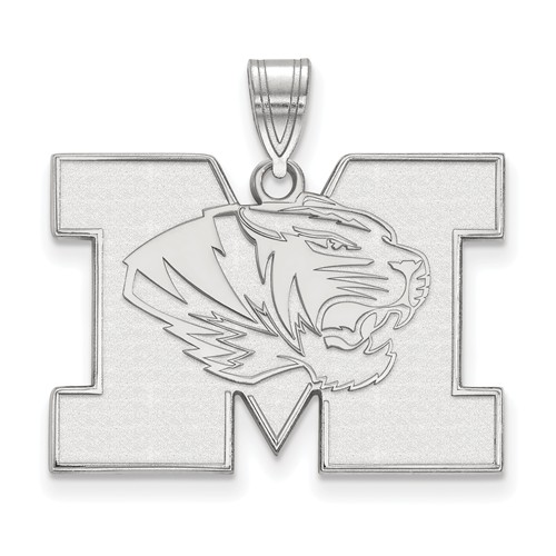 Sterling Silver 3/4in University of Missouri M Tiger Pendant