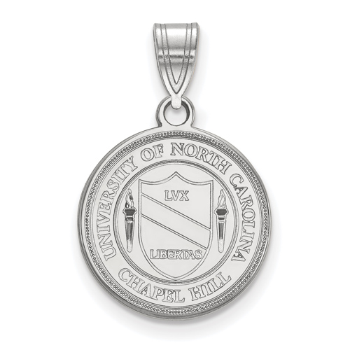 Sterling Silver 5/8in University of North Carolina Crest Disc Pendant
