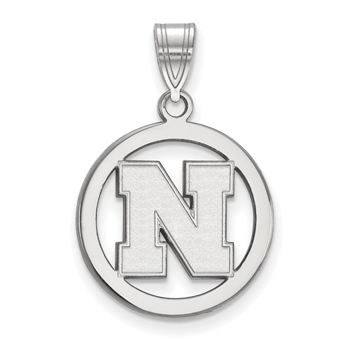 Sterling Silver 5/8in University of Nebraska Circle Pendant