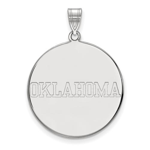 Sterling Silver 1in University of Oklahoma OKLAHOMA Round Pendant