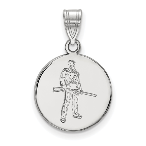 Sterling Silver 5/8in West Virginia University Mountaineer Disc Pendant