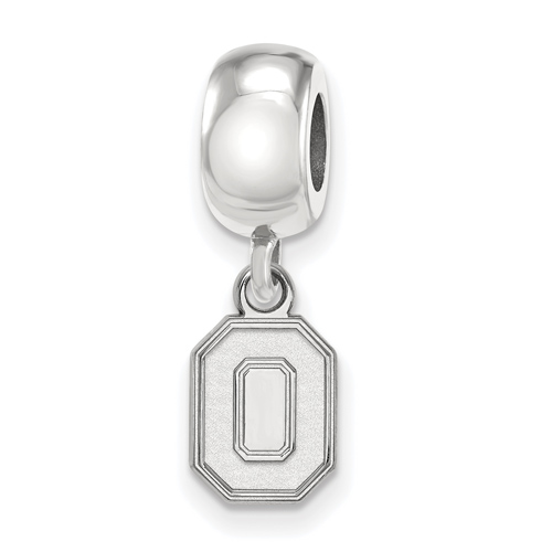 Sterling Silver Ohio State University Extra Small Dangle Block O Bead