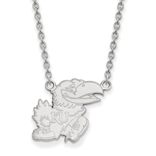 14k White Gold 3/4in University of Kansas Jayhawk Necklace