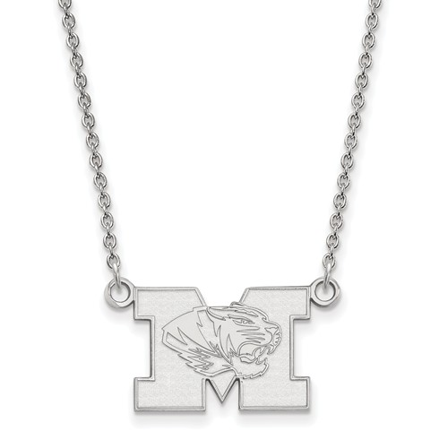Sterling Silver 1/2in University of Missouri M Tiger Pendant with 18in Chain