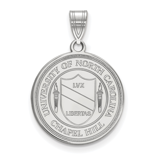 Sterling Silver 3/4in University of North Carolina Crest Disc Pendant