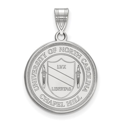Sterling Silver 3/4in University of North Carolina Crest Disc Pendant