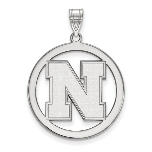 Sterling Silver 1in University of Nebraska N Pendant in Circle