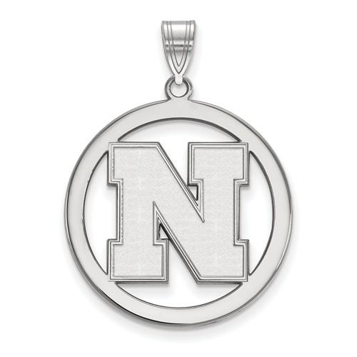 Sterling Silver 1in University of Nebraska N Pendant in Circle