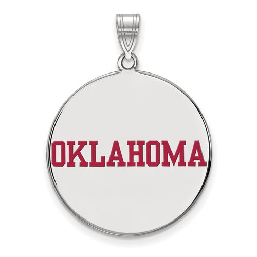 Sterling Silver 1in University of Oklahoma OKLAHOMA Round Enamel Pendant
