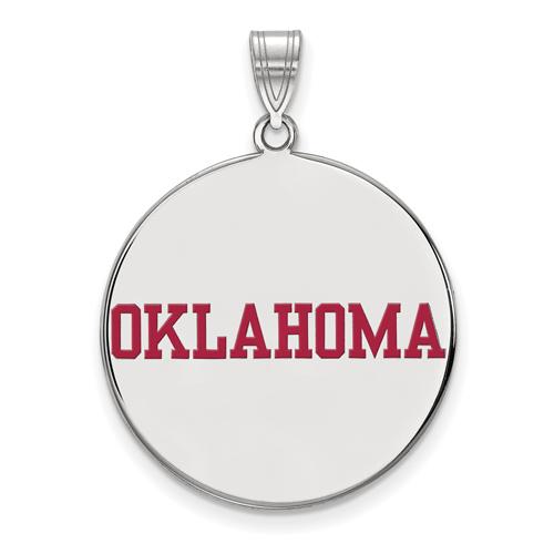 Silver 1in University of Oklahoma OKLAHOMA Round Enamel Pendant