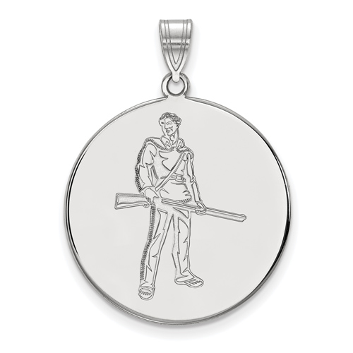 Sterling Silver 1in West Virginia University Mountaineer Disc Pendant