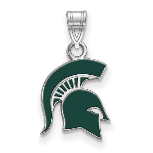 Sterling Silver 1/2in Michigan State University Spartan Helmet Enamel Pendant