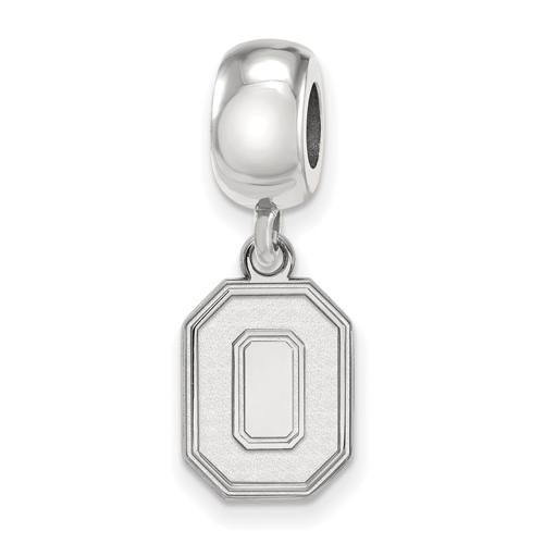 Sterling Silver Ohio State University Block O Bead Charm Small Dangle