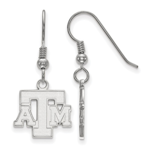 Sterling Silver Texas A&M University Logo Dangle Wire Earrings
