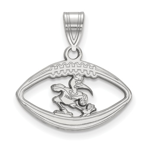 Sterling Silver 3/4in University of Miami Ibis Football Pendant