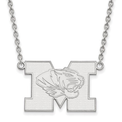 Sterling Silver University of Missouri M Tiger Pendant with 18in Chain