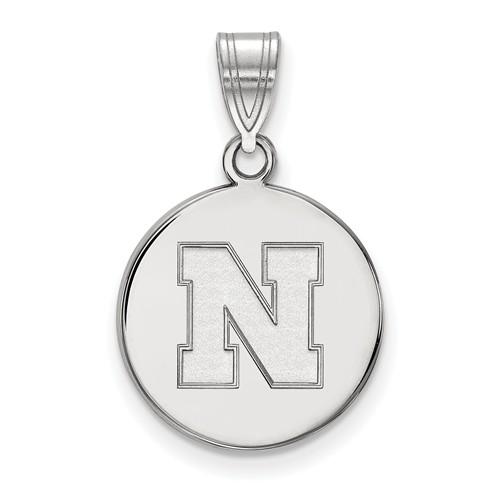 Sterling Silver 5/8in University of Nebraska N Disc Pendant