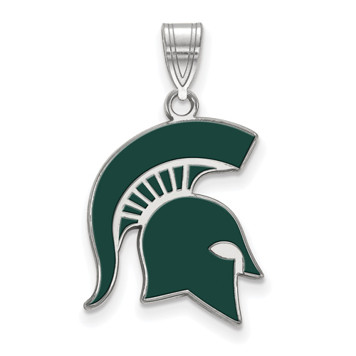 Sterling Silver 3/4in Michigan State University Spartan Helmet Enamel Pendant