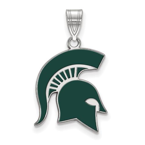 Sterling Silver 3/4in Michigan State Spartan Helmet Enamel Pendant