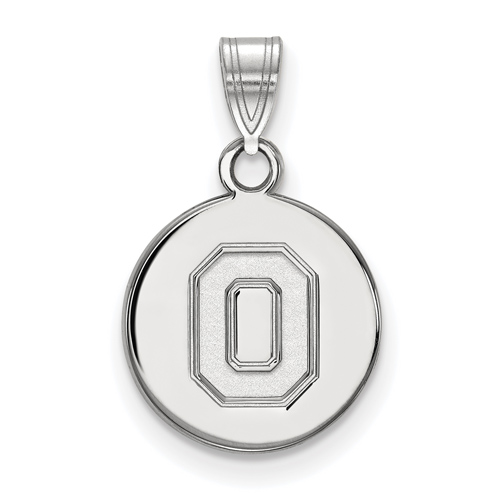 Sterling Silver 1/2in Ohio State University Block O Disc Pendant