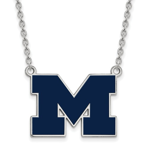 Silver University of Michigan M Enamel Pendant with 18in Chain