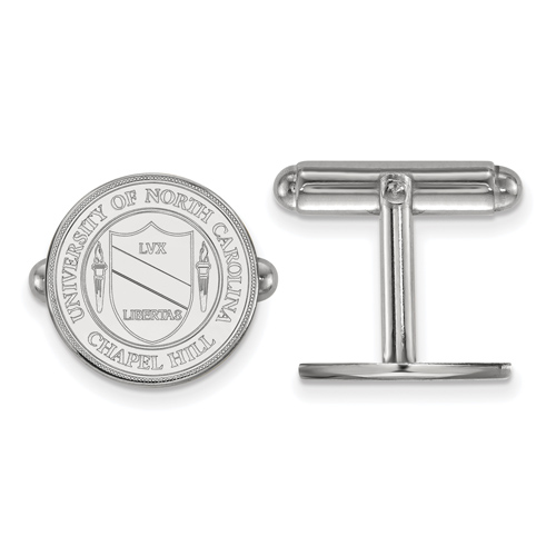Sterling Silver University of North Carolina Crest Cuff Links