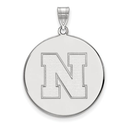 Sterling Silver 1in Round University of Nebraska N Pendant