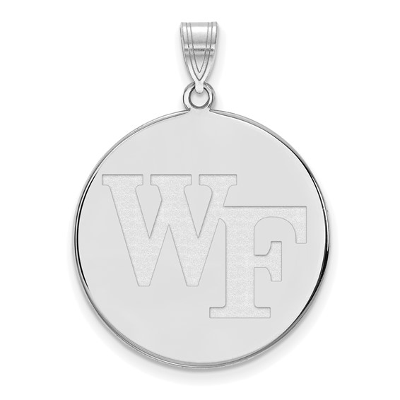 Wake Forest University WF Disc Pendant 1in Sterling Silver