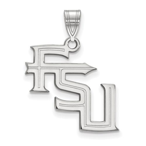 Sterling Silver 3/4in Florida State University FSU Pendant