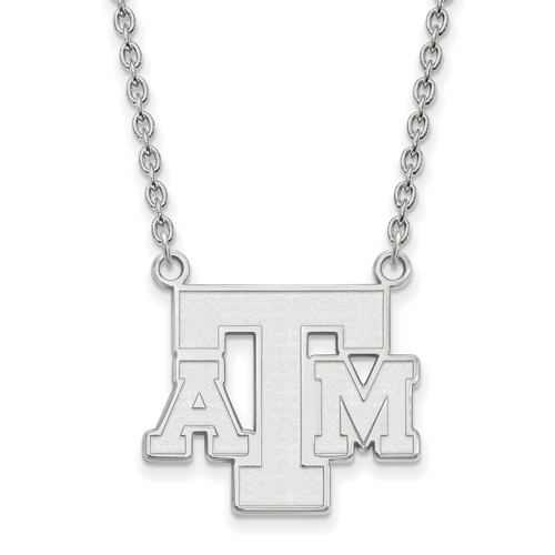 Sterling Silver 3/4in Texas A&M University ATM Pendant with 18in Chain