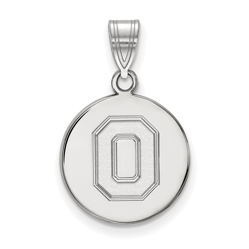 Sterling Silver 5/8in Ohio State University Block O Disc Pendant